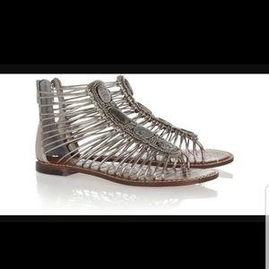 Sam Edelman silver metallic leather stone sandals